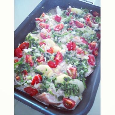 Ingredientes para a receita de salmão assado